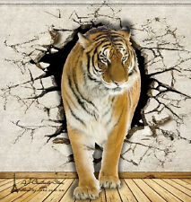 3D Tiger Break Thr Wall Paper Wall Print Decal Wall Deco wall Mural Home
