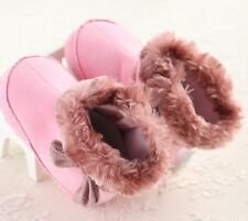 S018 New Pink Warm Furry Beautiful Cute Big Bow soft Sole Baby Girls Boots US