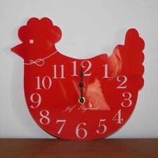 Cute Chicken Clock, Hen Shaped Wall Clock, Wooden effect, Chicken Coop Clock