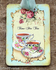 Hang Tags  TIME FOR TEA RED ROSE CUP TAGS or MAGNET #271  Gift Tags