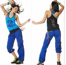 ZUMBA  FITNESS 2 PIECE SET! CARGO Capri PANTS & BUBBLE Top Tee RACERBACK S M L