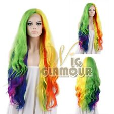 "Long Wavy 18""-28"" Multi-color Rainbow Lace Front Wig Heat Resistant"
