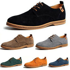New Mens Casual Dress Formal Oxfords Flats Shoes Genuine Suede Leather Lace Up