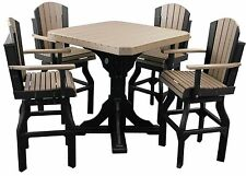 """Poly Furniture Wood 41"""" Sqr Table Set -Counter Height  4 Adirondack Swivel Chair"""