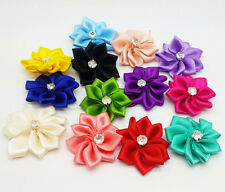 10pcs Satin Ribbon Flower Rhinestone Appliques Craft/Trim/wedding!Choose color
