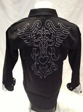 Mens Victorious Tribal Wings Button Down Shirt Black Roar With Style M L 2XL 3XL
