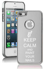For iPhone 4 4S 5 5S 5c Aluminum Chrome Hard Case Keep Calm Paint Your Nails