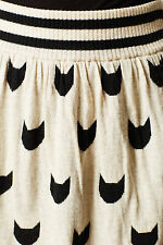 S-M-L Anthropologie Curiosity Sweater Skirt, Cat Feline A-Line By Dear Creatures