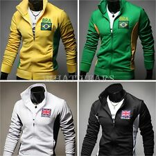 2014 World Cup Brazil Football Stand Collar Mens Casual Sports Coats Jackets GBW
