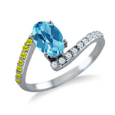 1.19 Ct Oval Checkerboard Swiss Blue Topaz Canary Diamond 925 Silver Ring