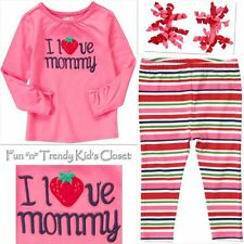 NWT OUTFIT CRAZY 8 STRAWBERRY LOVE GIRLS SIZE 4 4T 5 5T LEGGINGS SHIRT TOP HAIR