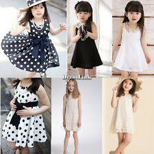 Girls Bambini Party Pizzo Abito principessa Paillettes Perle gonna Dress vestito