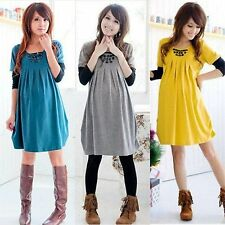 CandyColor Maternity Dress Long Sleeve Pleated Dress Casual Pregnant Woman Dress