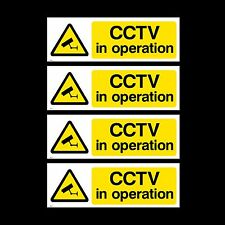 CCTV Sign, Sticker Pack of 4 - 150mm x 50mm - Security, Camera, Warning (MISC2)
