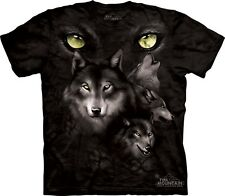 Moon Eye Collage T-Shirt by The Mountain. 3 Wolf Wolves Sizes S-5XL New