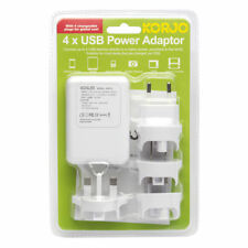 Korjo 4 Port USB World Travel Adapter US UK EU AU NZ JP Plug iPhone iPad Charger