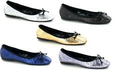 LADIES SPOT ON GLITTER SLIP ON BALLERINA/DOLLY SHOES WITH BOW TRIM F8894