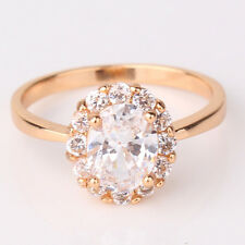 Woman  18k gold filled White swarovski crystal Oval Cluster ring Sz4.5-Sz8.5