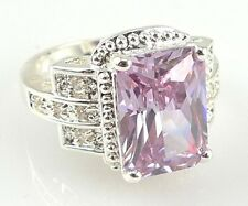 Noble artificial Lilac Amethyst & white topaz silver Ring Size 6 7 8 9 10