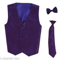 PAGEBOY PURPLE POLY SILK WAISTCOAT AND BOW TIE SET