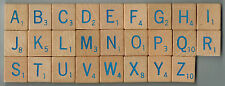 SCRABBLE RPM TILES - Wooden Pieces with Blue Lettering - sold individually