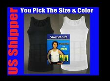 MEN'S SLIMMING BODY SHARPER GIRDLE T SHIRT Slim n Lift FIT VEST WHITE US-SELLER