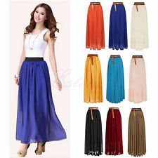 Women's Elastic Waist Skirt Chiffon Double Layer Pleated Retro Long Maxi Dress