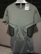 mens nike pro combat hyperstrong 3 pad/padded rib compression shirt/gry football