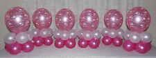 6 TABLE - CHRISTENING PARTY -  BABY GIRL  - BALLOON DISPLAY - TABLE CENTREPIECE