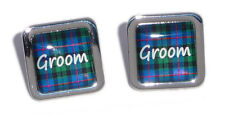 Blue Tartan Square Wedding Cufflinks - Groom, Best Man....