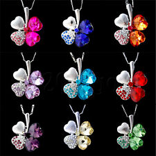 Delicate Womens Four-Leaf Clover Crystal Alloy Necklace 2.6 x 2.1 cm 9colors BG