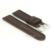 StrapsCo Vintage Style Thick Dark Brown Leather Watch Band Mens Strap