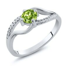 0.82 Ct Round Green Peridot 925 Sterling Silver Ring