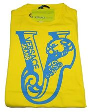 T-shirt Gianni Versace Jeans Men Italy Fashion T-shirt Mens Jersey Cotton Yellow