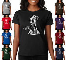 Ford Cobra Mustang Snake Logo Racing Ladies T-Shirt S-2XL