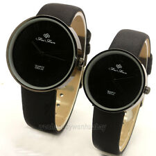 Black Analog Arabic Leather Couple Lover Simple Round Wrist Watch Quartz 86Gift