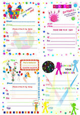 CHILDREN'S BLANK PARTY INVITES/INVITATIONS X 20