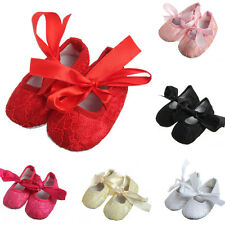 Cute Kids Baby Newborn Bow Infant Toddler Girls Crib Lace Ribbon Soft Sole Shoes