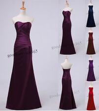 Long Satin Evening Gown Bridesmaid Dresses Prom Dress Formal Party Ball Gowns