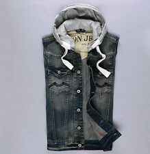 Fashion Top Cool Men's Denim Jeans Hooded With Button MOTORCYCLE JEAN SHIRT Vest