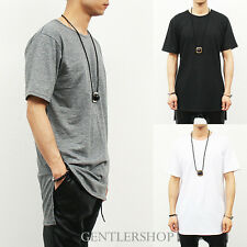 Mens Fashion Loose Fit Unbalanced Long Back Hem Short Sleeve T Shirt,GENTLERSHOP