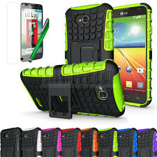Shockproof Rubber Armor Hard Hybrid Case Cover For LG Optimus L70 Exceed 2 MS323
