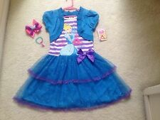 New Blue Cinderella Disney Princess Dress Girls/Toddler ( 4,5,6,6x)  Hair Bow