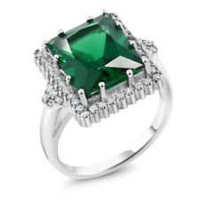 5.50 Ct Emerald Cut 12x10mm Green Simulated Emerald 925 Sterling Silver Ring