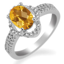 1.84 Ct Oval Checkerboard Yellow Citrine 925 Sterling Silver Ring