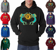 Native American Kokopelli Dancers Sunburst 50/50 Pullover Hoodie S-3XL