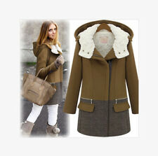 Women's Thick Woolen Coat Zipper England Winter Coat Winter Hat Outside J491