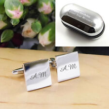 Personalised ENGRAVED Silver Square Monogram Initial Cufflinks - Mens Gift