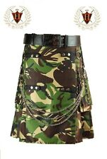 Green Camouflage Utility Kilt Cotton Military Highland Gothic Formal & Everyday
