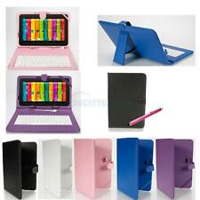"""10"""" 10 10.1 Inch Leather Case Micro USB Keyboard With Stylus for Android Tablet"""